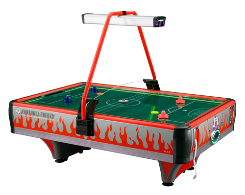 Playing air hockey